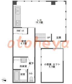 楽器可の賃貸物件 1SLDK 15.5万円の図面1